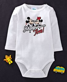 Fox Baby Full Sleeves Onesie Mickey & Minnie Mouse Print - White