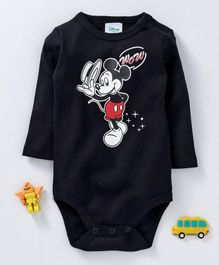 Fox Baby Full Sleeves Onesie Mickey Mouse Print - Black