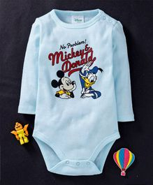 Fox Baby Full Sleeves Onesie Mickey Mouse & Donald Duck Print - Sky Blue
