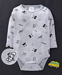 Fox Baby Full Sleeves Onesies Mickey Mouse Print - Grey