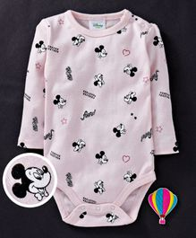 Fox Baby Full Sleeves Onesies Mickey Mouse Print - Light Pink