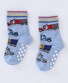 Mustang Ankle Length Anti Skid Socks Vehicle Design - Light Blue