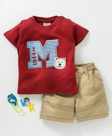 Wonderchild Bear & M Patched Short Sleeves Tee With Shorts - Maroon & Beige