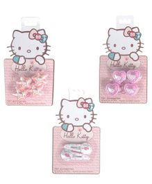 Hello Kitty Hair Rubber & Snap Clips Set - Pink White