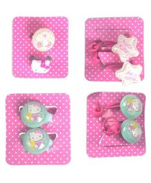 Hello Kitty Hair Rubber & Rings Set - Pink Green