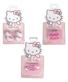 Hello Kitty Hair Rubber And Snap Clips With Hair Clips Pack of 3 - White Pink