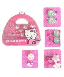 Hello Kitty Hair Accessory And Nail Art Combo Pack of 5 - Pink White