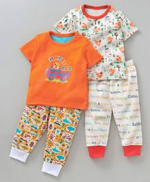 Kidi Wav Half Sleeves Multi Print Pack Of Two Tee & Pajama Set - Orange