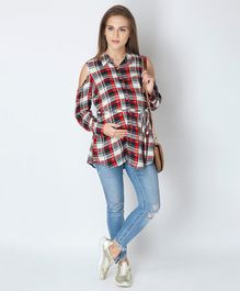 Blush 9 Checked Full Sleeves Nursing Long Top - Red & Blue