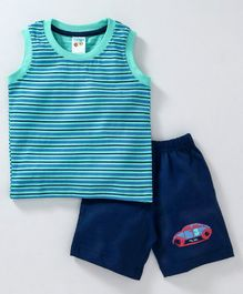 Tango Sleeveless Stripe Tee & Shorts Car Print - Blue