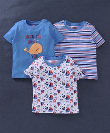 Babyhug Half Sleeves Tee Multi Print Pack of 3 - Blue White