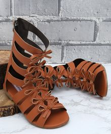 D'chica High Ankle  Bow Applique Sandals - Brown
