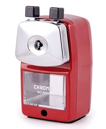 Chrome Metal Body Pencil Sharpener - Red