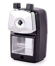 Chrome Metal Body Pencil Sharpener - Black