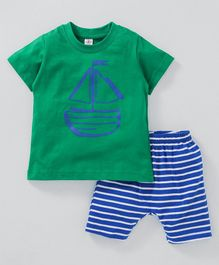 Zero Half Sleeves Tee And Stripe Shorts Boat Print - Green