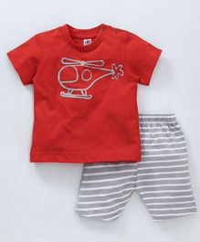 Zero Half Sleeves Tee And Stripe Shorts Helicopter Print - Red