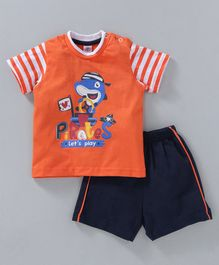 Zero Half Sleeves T-shirt and Shorts Shark Print - Orange & Navy