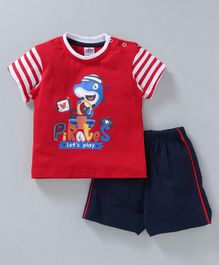 Zero Half Sleeves T-shirt and Shorts Shark Print - Red & Navy