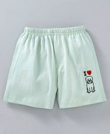 Mini Taurus Shorts Puppy Embroidery - Light Green