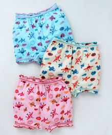 Red Rose Bloomers Air Plane Print Pack of 3 - Blue Pink Light Yellow