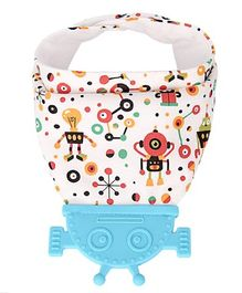 Vismiintrend Baby Bandana Drool Bib With Attached Teether Robot Print - Blue