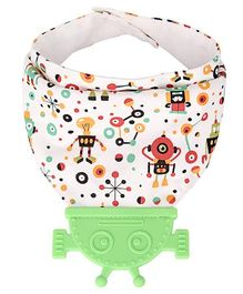 Vismiintrend Baby Bandana Drool Bib With Attached Teether Robot Print - Green