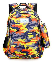 Vismintrend Camouflage School Bag Yellow - Height 18 inches
