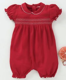 Cucumber Balloon Sleeves Romper - Red