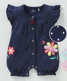 Baby GO Cap Sleeves Romper Flower Patch - Navy Blue
