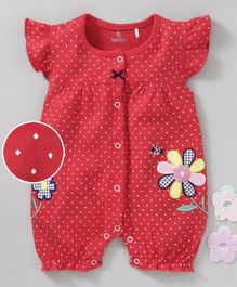 Baby GO Cap Sleeves Romper Flower Patch - Red