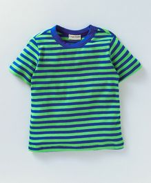 Crayonflakes All Over Striped Half Sleeves T-Shirt - Blue & Green