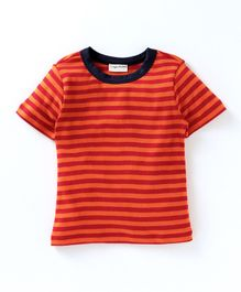 Crayonflakes All Over Striped Half Sleeves T-Shirt - Orange & Red