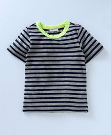 Crayonflakes All Over Striped Half Sleeves T-Shirt - Navy Blue & Grey