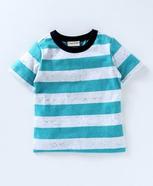 Crayonflakes Striped Half Sleeves T-Shirt - Blue