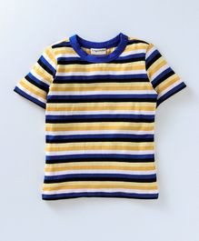 Crayonflakes Striped Half Sleeves T-Shirt - Blue & Yellow