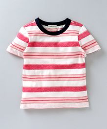Crayonflakes Striped Half Sleeves T-Shirt -  White & Pink