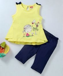 Babyhug Sleeveless Top & Leggings Girl Print - Yellow Blue