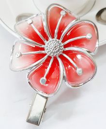 Sugarcart Pearl Finish Flower Clip - Red & Silver