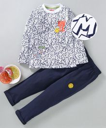 Babyhug Full Sleeves Tee & Pant Smile Print - White Navy Blue