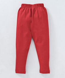 Kiddopanti Solid Full Length Leggings - Red