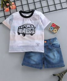 ToffyHouse Half Sleeves Tee With Shorts Bus Print - Multicolor