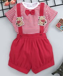 ToffyHouse Half Sleeves Dungarees With Striped Tee - Red