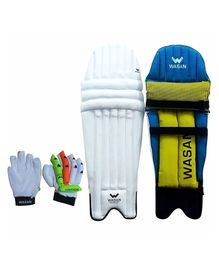 Wasan Cricket Batting Leg Guard And Gloves - Green