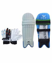 Wasan Cricket Batting Leg Guard And Gloves - Blue