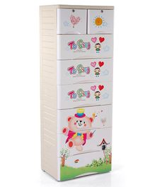 Storage Unit With 7 Compartments Bear Print - Cream