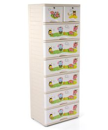 Storage Unit With 8 Compartments Elephant & Bee Print - Cream
