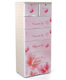 Storage Unit With 7 Compartments Floral Print - Cream Pink