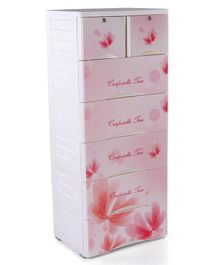 Storage Unit With 7 Compartments Floral Print - White Pink