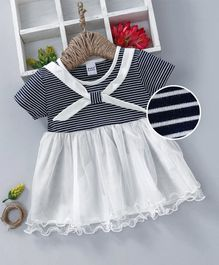 Meng Wa Half Sleeves Striped Frock - White Blue
