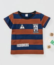 Mang Wa Short Sleeves Striped Tee - Navy